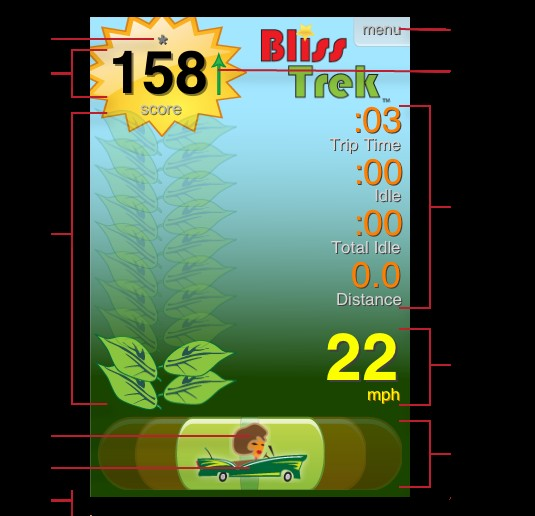 Bliss Trek eco-driving application for Apple iPhone 3G or 3g S