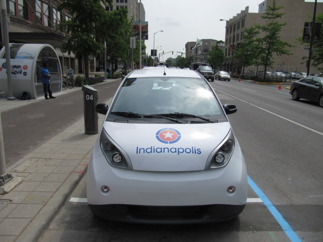 BlueIndy electric-car sharing station and European Bollore BlueCar, Indianapolis, Indiana, May 2014