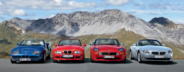 BMW's Z-series roadsters, (l-r) the Z1, Z3, Z8 and Z4