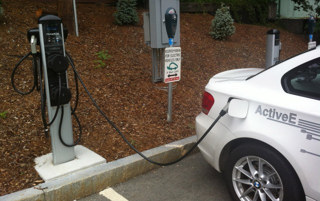 BMW ActiveE electric car at a charge point
