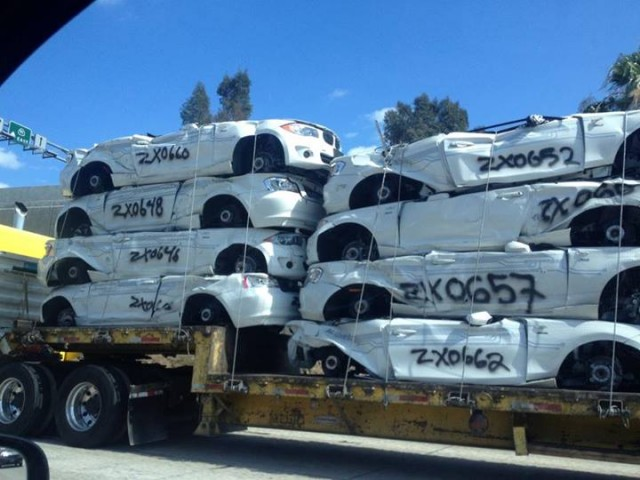 BMW ActiveE electric cars from test fleet after crushing, seen on CA 91, May 2014