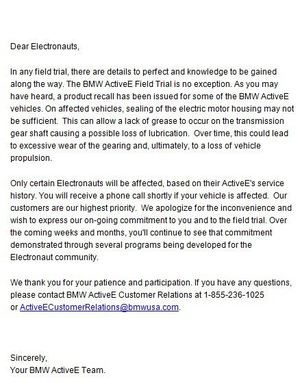 BMW ActiveE recall letter, January 18, 2013