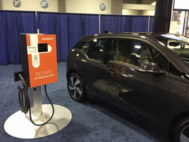 BMW i3 electric car and ChargePoint DC fast-charging station at Washington, DC, Auto Show, Jan 2015
