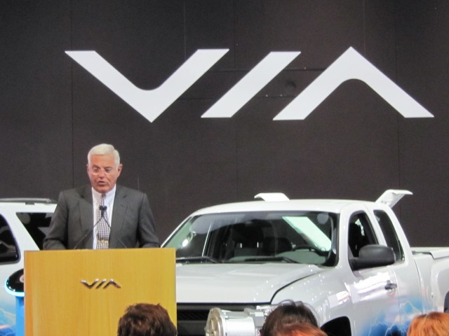 Bob Lutz at Via Motors extended-range electric truck conversion launch, 2012 Detroit Auto Show