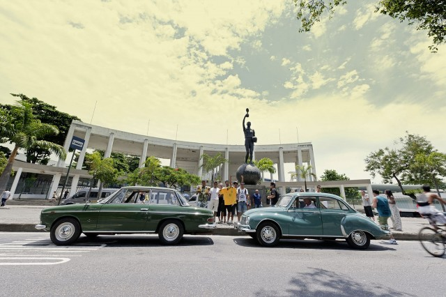 Brazilian DKW Fissore and Belcar In front of the historic main entrance to Rio's Maracanã Stadium