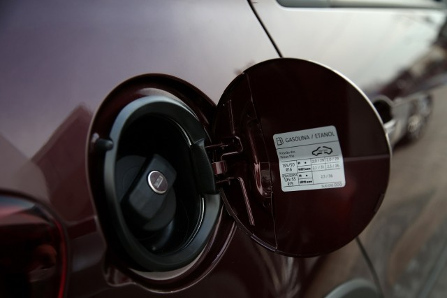 Fuel filler of Volkswagen Gol, Brazilian flex-fuel vehicle