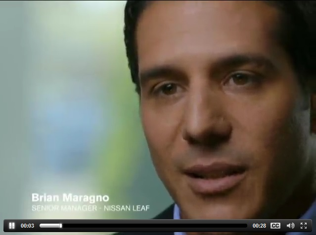 Brian Maragno of Nissan USA in Nissan Leaf electric-car television ad, frame capture