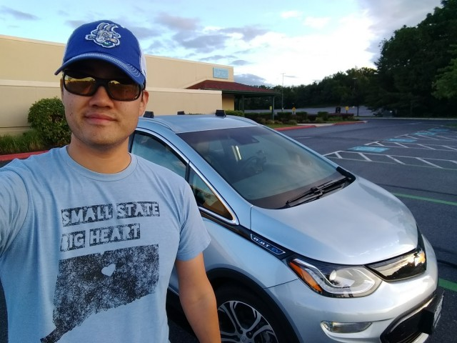 Brian Ro's 'obligatory selfie' with his 2017 Chevrolet Bolt EV [image: Brian Ro]