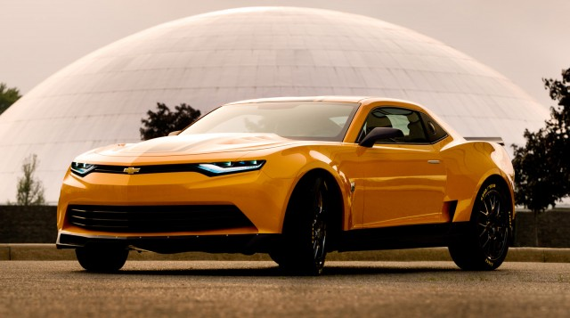 Bumblebee's new Chevrolet Camaro concept on the set of Transformers 4 movie