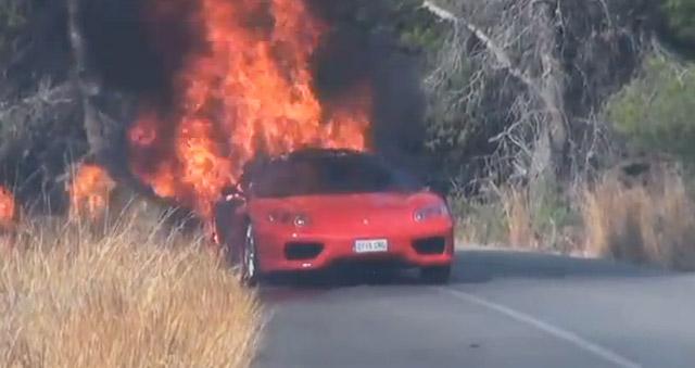 Soccer Player Ever Banega's Ferrari Burns To A Crisp: Video