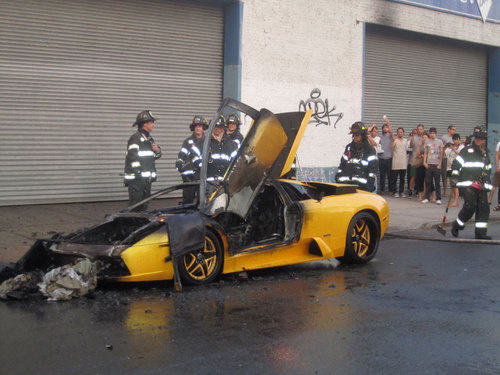 Stolen Lamborghini Murcielago left to burn