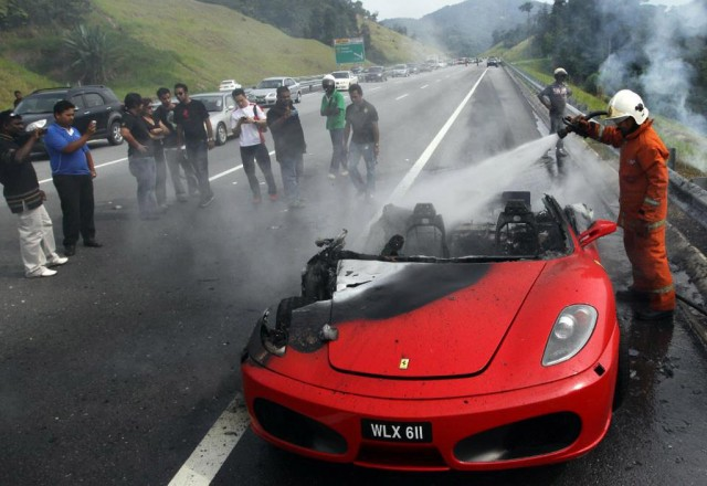 Burnt out wreck of a Ferrari F430 that went up in flames in Malaysia