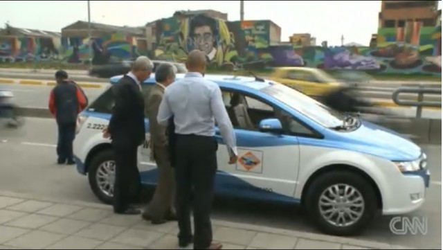 BYD e6 electric taxi in Bogota, Colombia [screen capture from CNN news report]