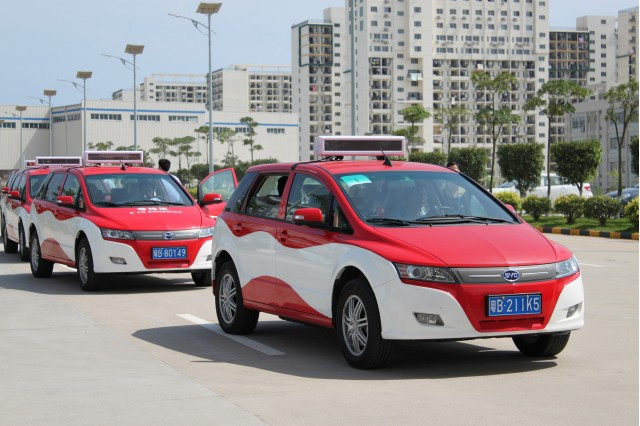 BYD e6 electric taxi in service in Shenzhen, China