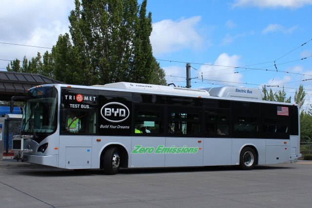BYD K9 All-Electric Bus, as tested in Portland OR
