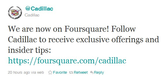 Cadillac Comes To Foursquare: Discuss