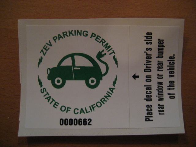 California Zero-Emission Vehicle parking permit, from DanielBusby.com