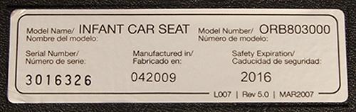 Car seat label - on NHTSA website