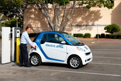 car2go Smart ForTwo Electric Drive charging at San Diego Automotive Museum