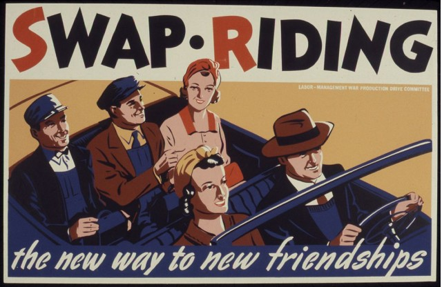 Carpool ad, 1940s: U.S. Office for Emergency Management, War Production Board