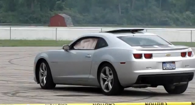 Chevrolet Camaro airbags deploy during drift event