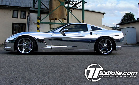 Chrome Corvette wrap by Tintek.