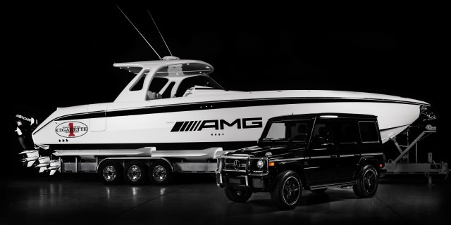 Cigarette Racing Huntress is a 42-foot boat whose design is inspired by the Mercedes-Benz G63 AMG