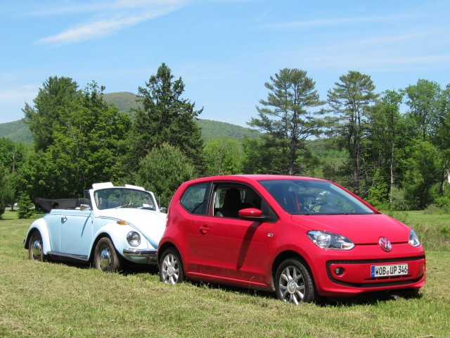 Classic Volkswagen Beetle Convertible & 2012 Volkswagen Up minicar, Catskill Mountains, NY, May 2012