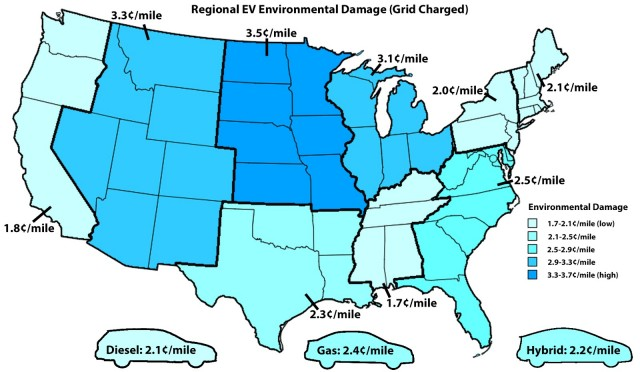 Cost of environmental damage from criteria emissions from electric-car use by region [John Briggs]