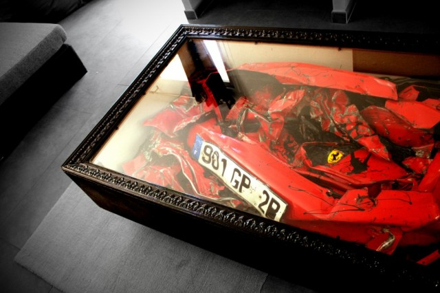 Crashed Ferrari coffee table. Image: Charly Molinelli