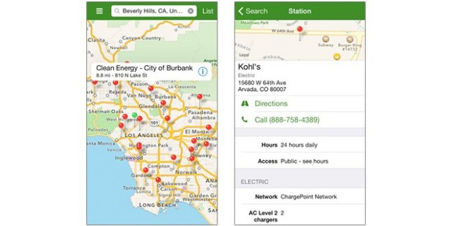 DOE Alternative Fueling Station Locator iPhone app screenshot