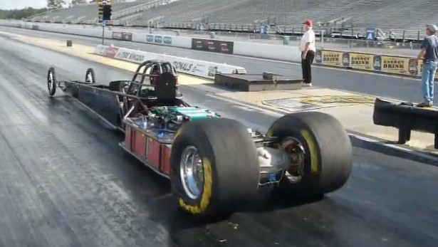 Don Garlits pilots the High Tech Systems LLC electric dragster