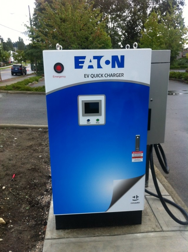 Eaton DC fast charger at Surrey Museum in Surrey, British Columbia, Canada