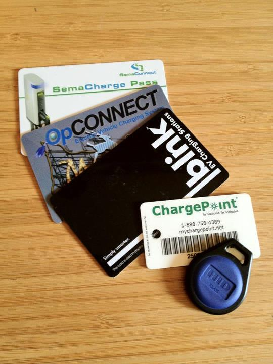 Electric-car charging network cards, photo by Rachel Blackman, Seattle
