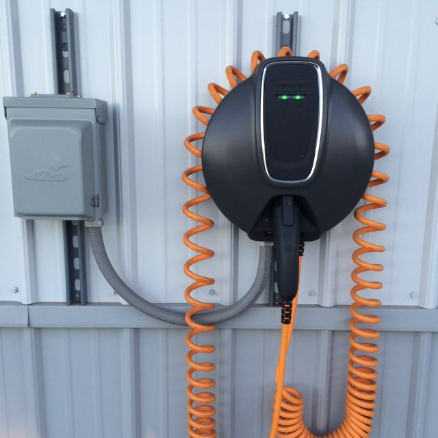 Electric-car charging station at Max Myers Chevrolet in Middlebury, Indiana [photo: Tiffany Raim]