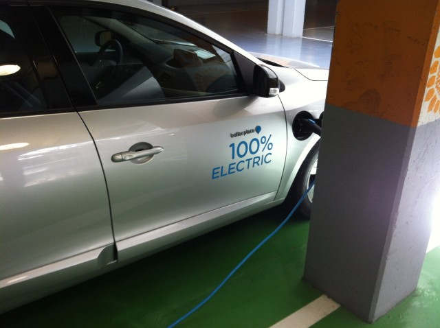 Electric-car charging station at Ramat Aviv Mall, Israel