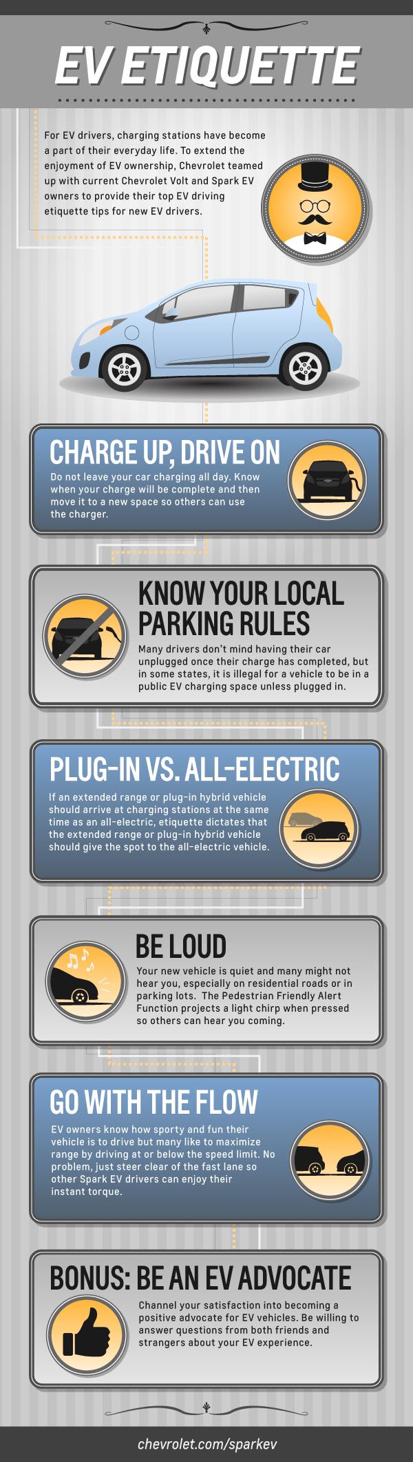 EV Etiquette infographic for 2014 Chevrolet Spark EV owners