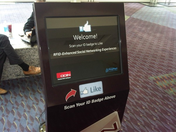 Facebook check-in kiosk using RFID