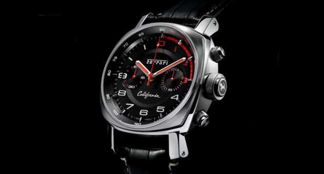 Panerai's Ferrari California Flyback Chronograph features the Prancing Horse symbol engraved on its movement