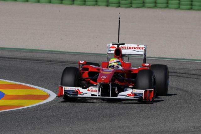 Ferrari F10 2010 F1 car testing at Valencia