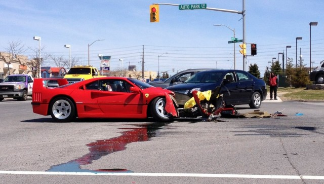 Ferrari F40 crashed during mechanic's test drive