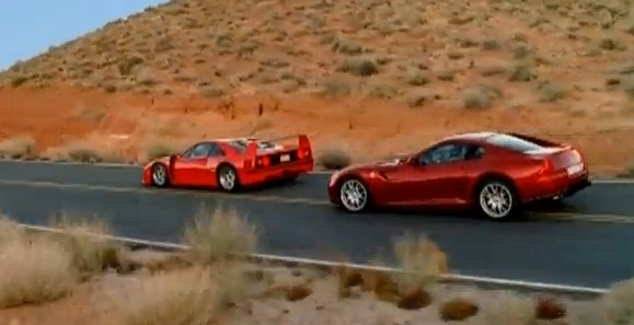 Ferrari F40 races the Ferrari 599 GTB Fiorano