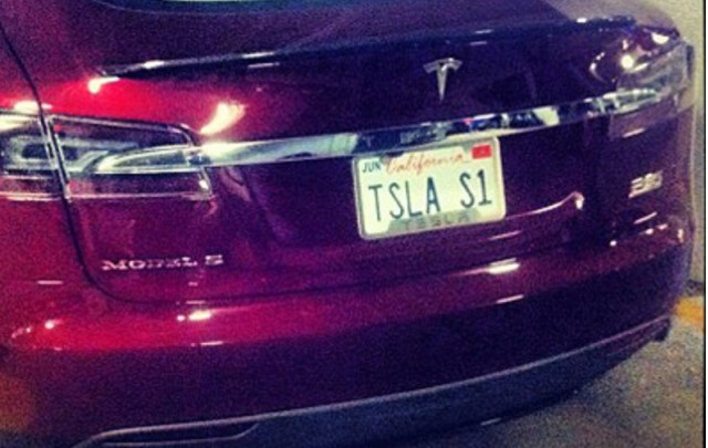 First production 2012 Tesla Model S [detail from photo by evancharlesmoore on instagram]