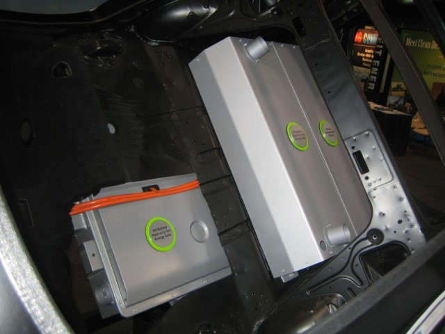Ford Focus EV - battery pack under rear seat, from inside
