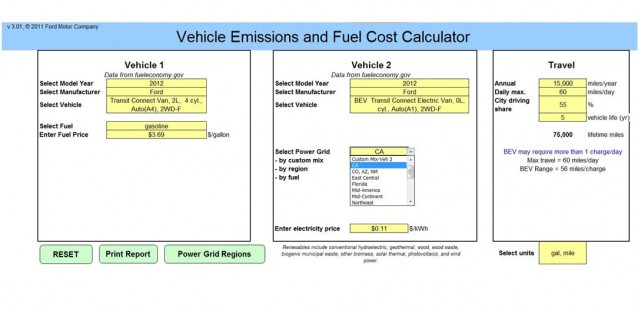 Ford fuel cost and emissions calculator and comparison tool, for fleet use - input screen