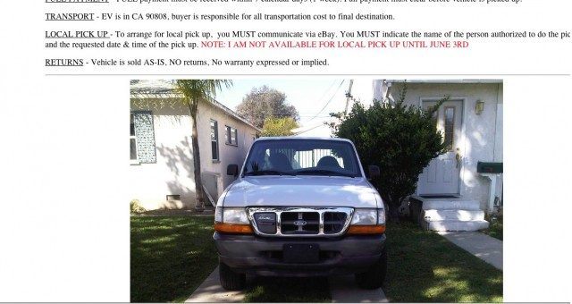 Ford Ranger EV For Sale on Ebay (Screenshot)