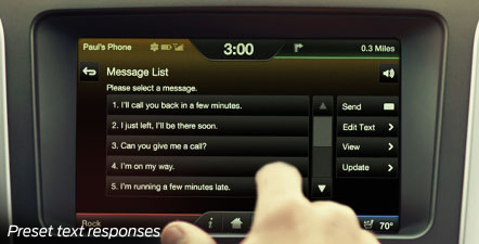 Ford SYNC preset text messaging responses