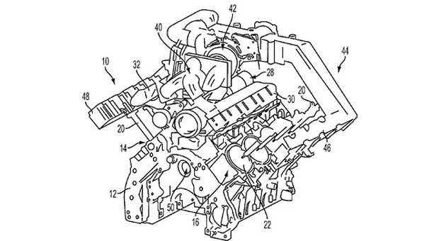 ford patent reveals plans for turbocharged pushrod v8 the diagram shows a pushrod v8 4 valves per cylinder a turbocharger system and