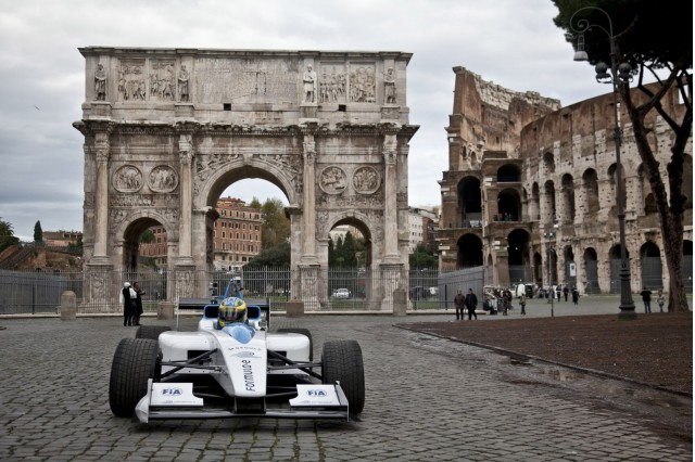 Formula E race car on the streets of Rome