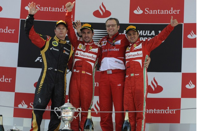 From left to right: Kimi Räikkönen, Fernando Alonso, Stefano Domenicali and Felipe Massa